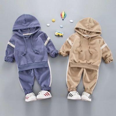 Pullover en coton pour enfant avec pantalon ensemble avec bande manche