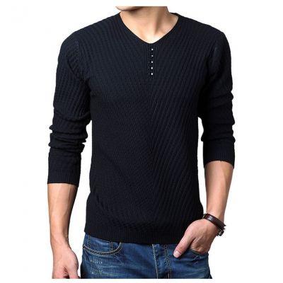 Pullover en laine Col V pour homme avec tricot à motif