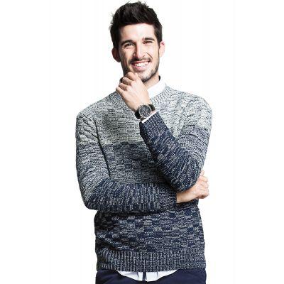 Pullover en tricot col rond pour homme avec motif dégradé