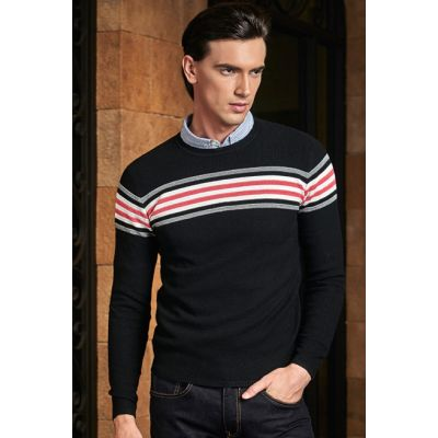 Pullover en tricot pour homme avec bande multicolore poitrine