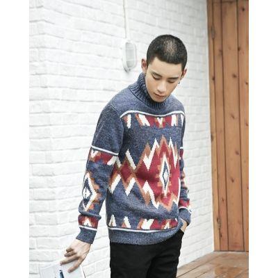 Pullover en tricot pour homme avec col roulé et motif géométrique coloré