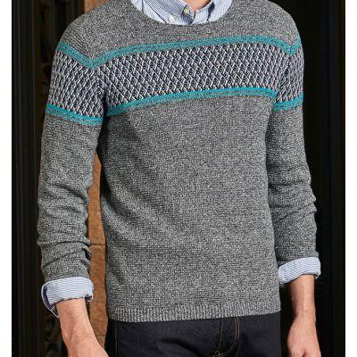 Pullover en tricot pour homme avec rayure couleur