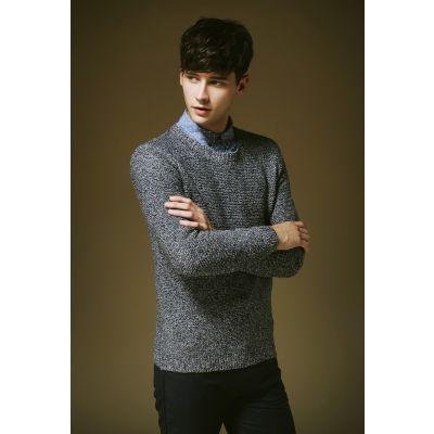 Pullover en tricot pour homme gris poivre et sel col rond