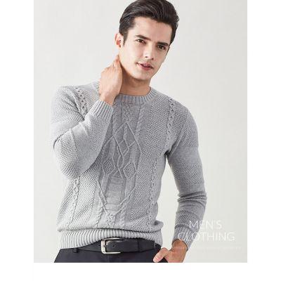 Pullover homme avec motif tricoté classique col rond