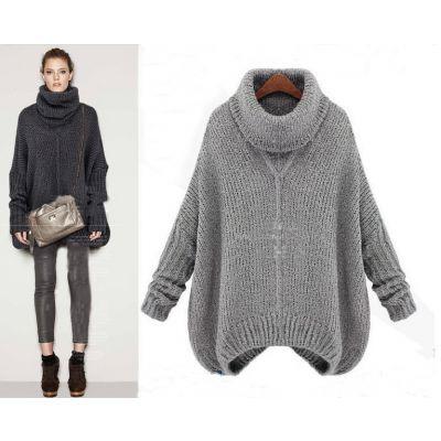 Pullover Knitwear Oversize pour Femme avec Col Roulé Large
