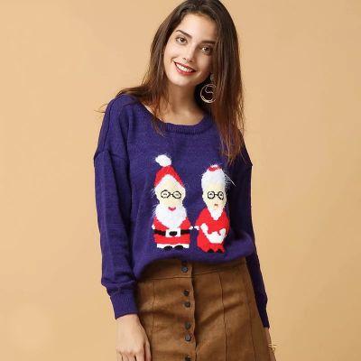 Pullover laine Père Noël et Mère Noël pour Femme Motif Hiver