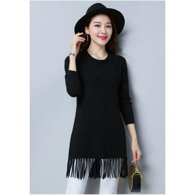 Pullover long pour femme knitwear avec bordure frange