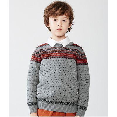 Pullover motif à rayures et pois pour enfant en laine