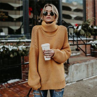 Pullover oversize à col roulé pour femme avec maillage large