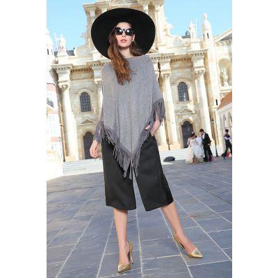 Pullover poncho pour femme avec franges col rond