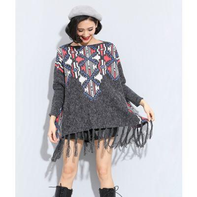 Pullover pour femme à frange avec motif tissé ethnique