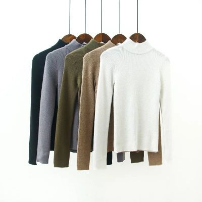 Pullover pour femme avec col montant et manches longues tricot côtelé
