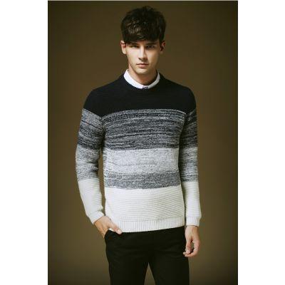 Pullover pour homme avec motif dégradé tricot couleur contrastante