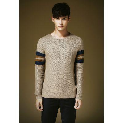 Pullover pour homme classique avec bande manche couleur