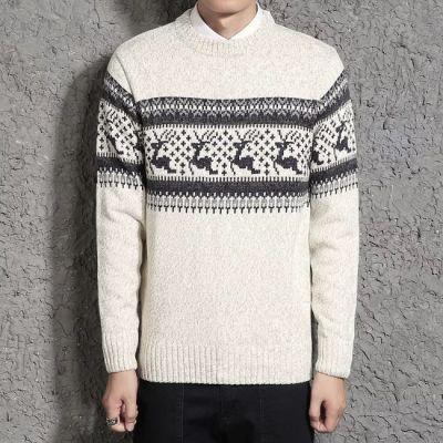 Pullover tricot hiver motif à cerfs et pois pour homme