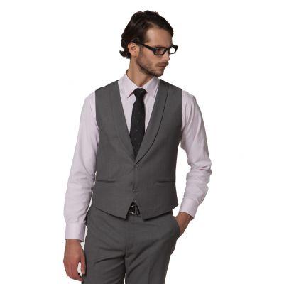 Gilet de costume pour homme sans manches avec bordure col satin