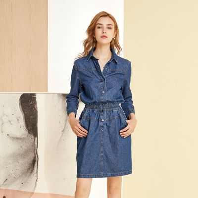 Robe à la taille en jean pour femme manches longues