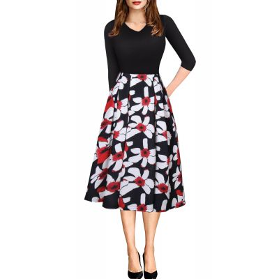 Robe à manches mi-longues effet t-shirt noir jupe fleurie