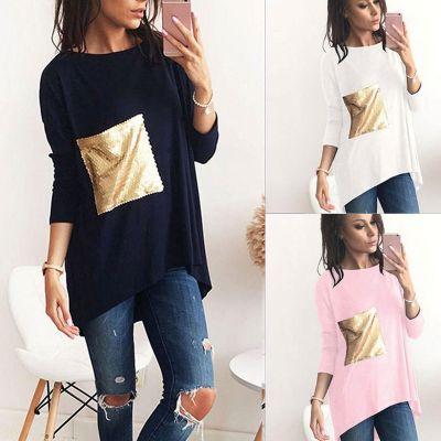 T-shirt oversize long pour femme avec poche en séquins dorés