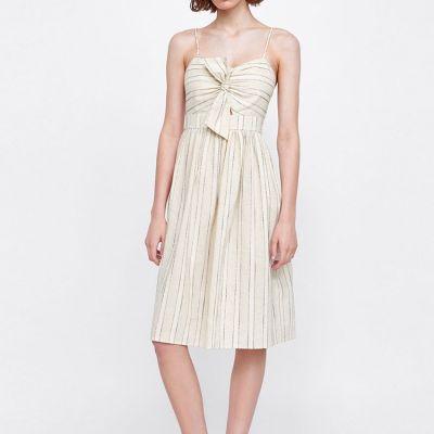 Robe d'été à rayures pour femme avec noeud avant et bretelles fines