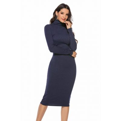 Robe pull long avec col montant pour femme coupe slim