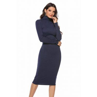 Robe pull long avec col montant pour femme coupe slim