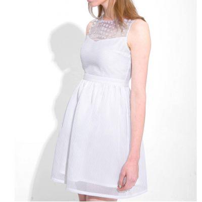 Robe Sans Manches avec Col Semi Transparent Appliqué Pois