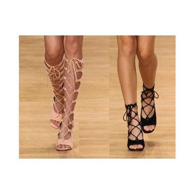 Sandales Hautes Spartiates pour Femme en Véritable Cuir