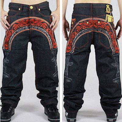 Jeans Baggy Hip Hop Homme avec Broderie Rouge Avant Arrière