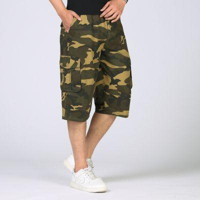 Short baggy camouflage pour homme en toile avec poches cargo