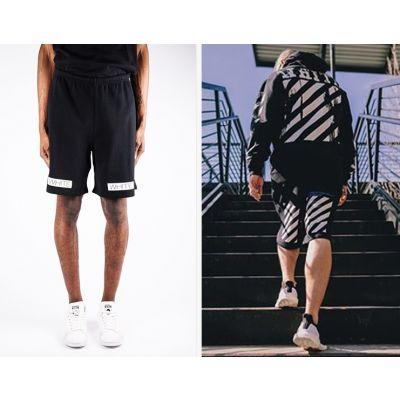 """Short Basketball pour Homme Noir """"White"""" Imprimé blanc"""