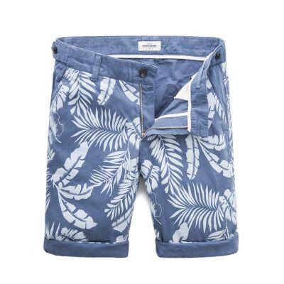 Short en Coton Imprimé Palmier Bleu et Blanc homme grande taille