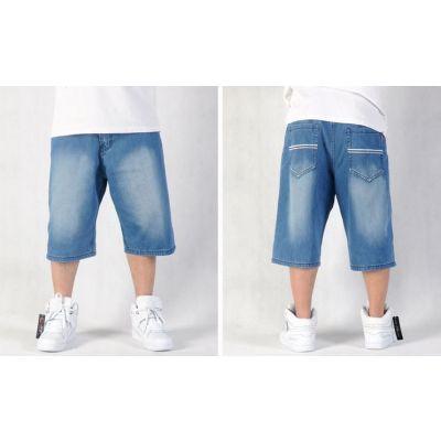 Short en Jeans Baggy Classique Rayures blanches Poches Arrières