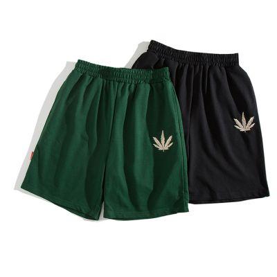 Short en tissu pour homme avec feuille cannabis décorative