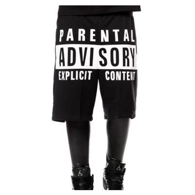Short Parental Advisory Cotton Hip Hop Streetwear Noir et Blanc