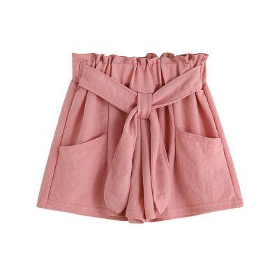 Shorts en coton et lin pour filles noeud couleur unie rose