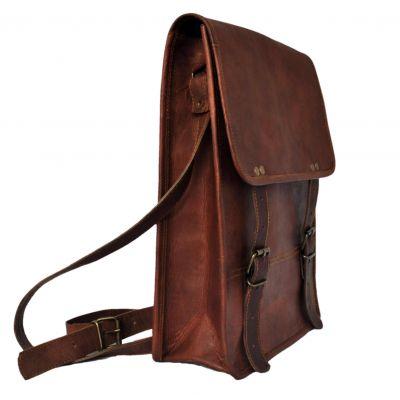 Porte document cuir vertical vintage homme femme avec bandolière - Grand