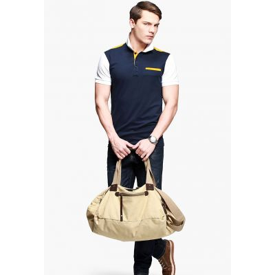 Polo manches courtes pour homme avec bordure jaune et blanche