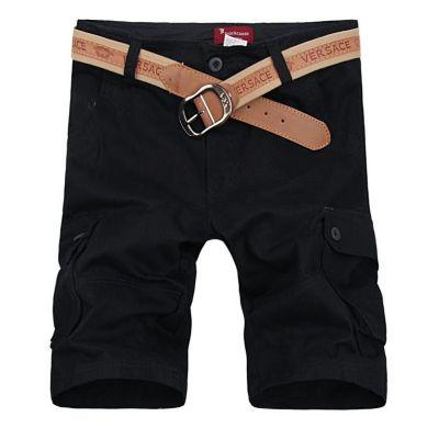 Bermuda cargo pour homme avec poches côtés en toile solide - Noir Kaki