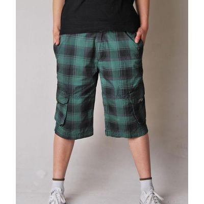 Short en toile légère pour homme à carreaux noirs et verts