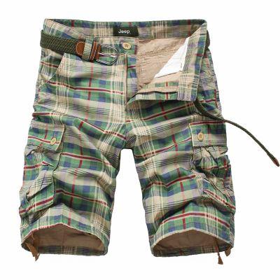 Short streetwear été en toile légère à carreaux verts marrons