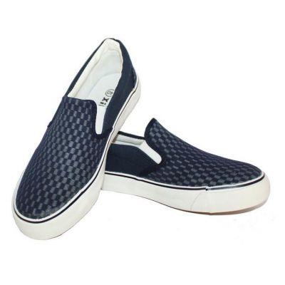 Chaussures Slip on A Carreaux Damier sans lacets avec semelle blanche