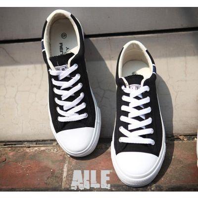 Chaussures Denim Basses style Converse avec semelle et pointe blanche