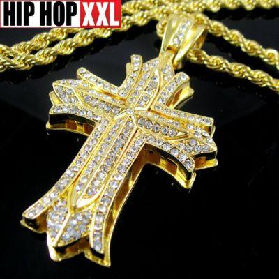 Collier Bling Bling Crucifix Croix de Jesus Bijoux Hip Hop Argent Or