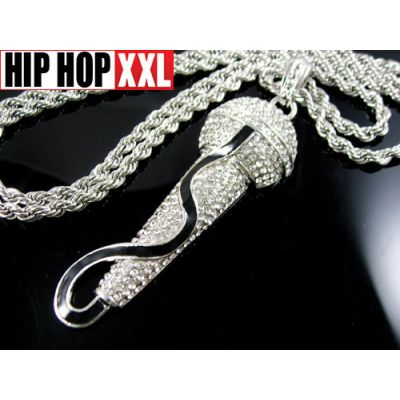 Pendentif Bling Bling Microphone Cable Hip Hop Collier Argent Or