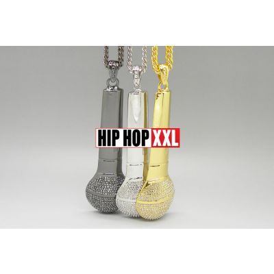Pendentif Bling Bling Microphone Mic Studio Hip Hop Collier Argent Or