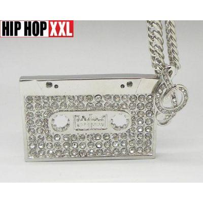 Pendentif Bling Bling Cassette Retro Old School Hip Hop Bling Collier