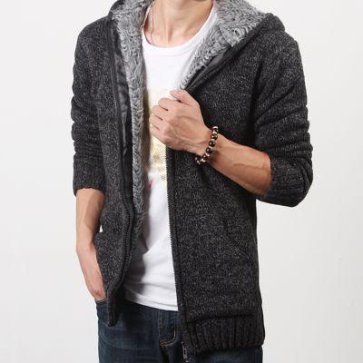 Veste épaisse en laine pour homme avec fourrure intérieure et capuche