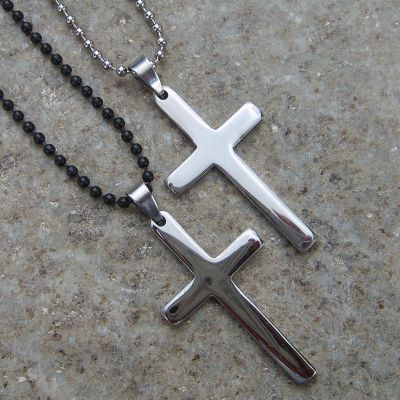 Pendentif crucifix argent simple traditionnel avec Chaine