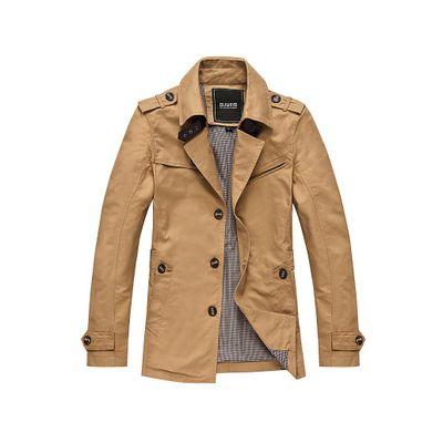 Manteau style classique pour homme en coton avec col bouclé et boutons